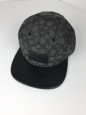 b8d289f0dae COACH F33776 Signature Flat Brim Cap Cotton Blend One Size Black NWT