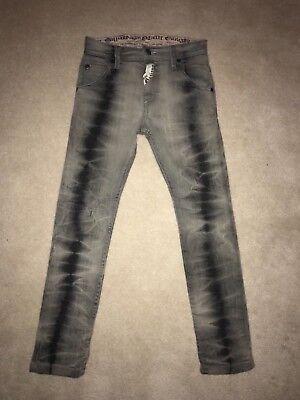 JOHN GALLIANO Juniors Boys Kids Slim Gray Black Funky Jeans Pants Youth Sz 8 Y