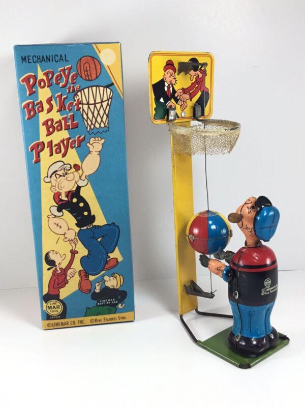 Original 1950s Linemar Popeye The Basketball Player w/ Box NM+ Pristine