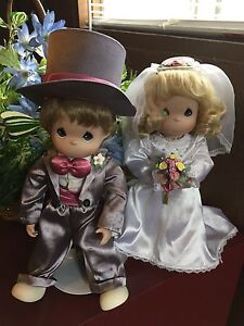 Precious Moments Bride and Groom doll with stands