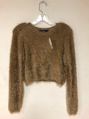 Forever 21 Womens Faux Fur Camel Color Longsleeve Crop Top