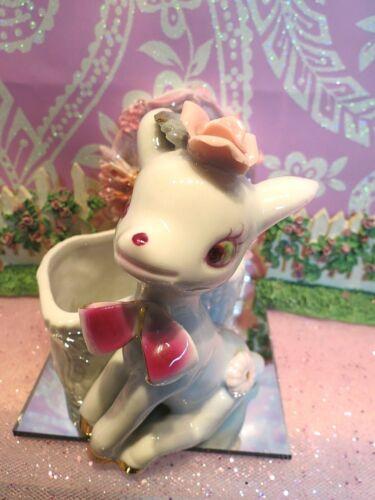 Vtg White Christmas Reindeer W Purple BOW TIE PINK Head ROSE Trinket Box Planter