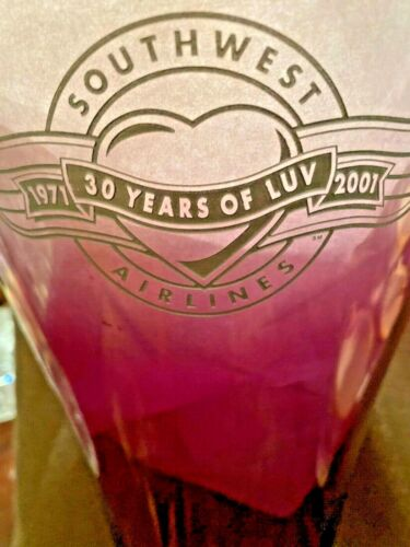 2001 vintage southwest Airlines LARGE GLASS VASE with 30 year logo RARE