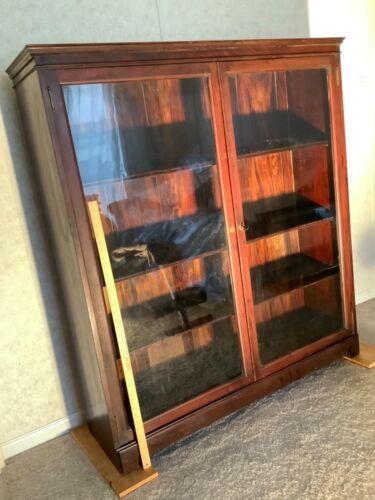 BOOKCASE 2 Door Mahogany Revival Empire 1910c adj shelves