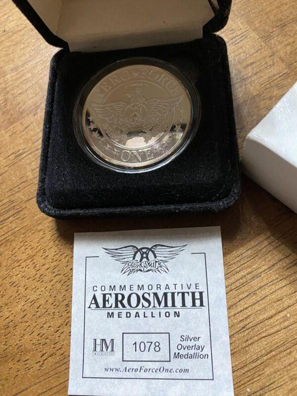 AEROSMITH ROUTE OF ALL EVIL TOUR MEDALLION COIN SILVER OVERLAY
