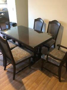 Jarrah dining table and chairs with glass top