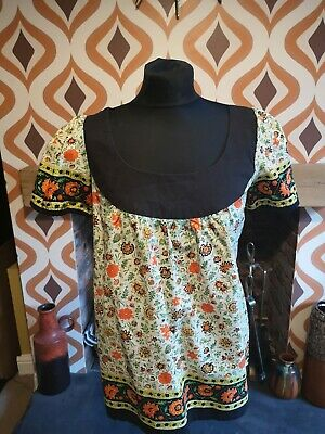 Beautiful Vintage 70s Indian Cotton Block Print Smock Top Blouse Dress 10 12