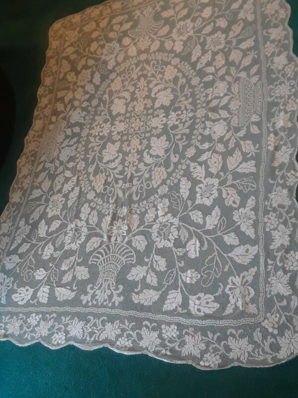 Antique cream Handmade Cotton Tuscany Lace tablecloth Grapes Roses Urns