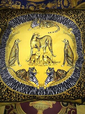 "VERSACE PILLOW TIGER LEOPARD AFRICA BED DECOR SOFA 28"" Discontinued $800 sale"
