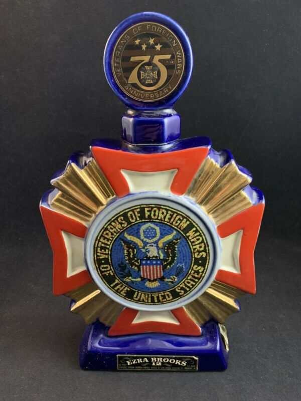 Vintage 1973 Ezra Brooks 75th Anniversary Veterans of Foreign Wars VFW Decanter