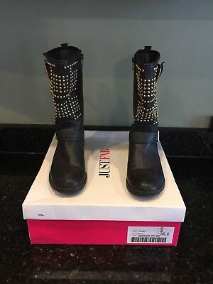 Just Fab Black Abigail Biker Boots Gold Studded trim Size 6 with box - Black Boots With Gold Trim