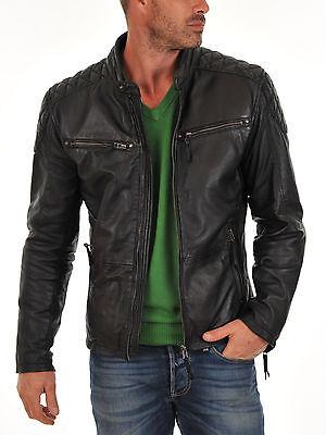 Men's Genuine Lambskin Leather Jacket Black Slim fit Biker Motorcycle jacket 905