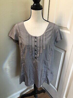 New H&M Silk Blend Pleated Gray Blouse Top Large