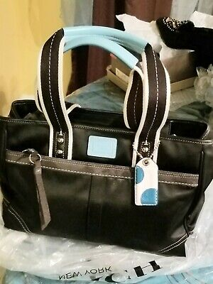COACH NYLON/CLOTH  BLACK BAG, EUC