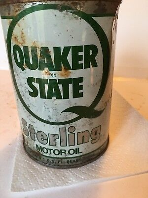 Quaker State Sterling Motor Oil Can  Full All Metal for sale  Shipping to Canada