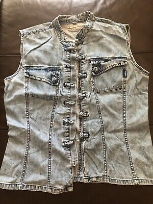 Guess Light Blue Denim Jean Jacket Sleeveless Vest Women M