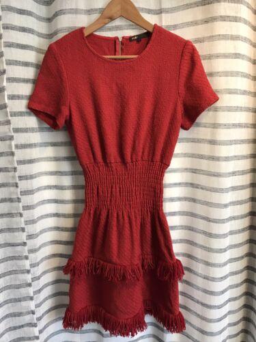 Maje robe dress kleid taille 3 red rouge tweed