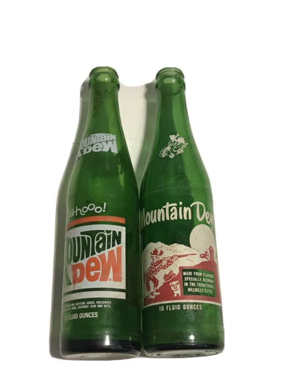 2 Vintage Mountain Dew Bottles 67,70