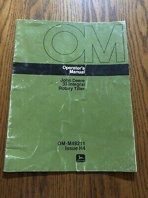 Original Vintage John Deere 33 Integral Rotary Tiller Omm49211 Operators Manual
