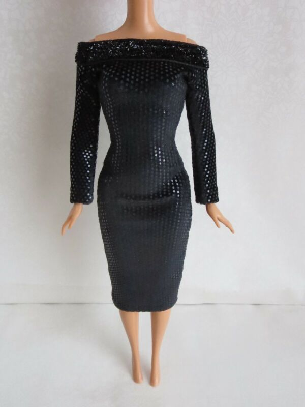 Black dress for doll 1/6 doll-Handmade Clothes for doll 11-11.5-12in
