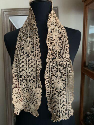 Antique Fine Handmade  Needle Lace Lappet 113cm by 13cm