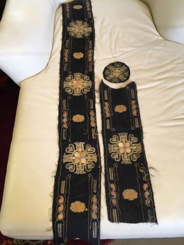 3 Piece Liturgical Vestment Embroidery Remnants Gold Silver Thread Continental