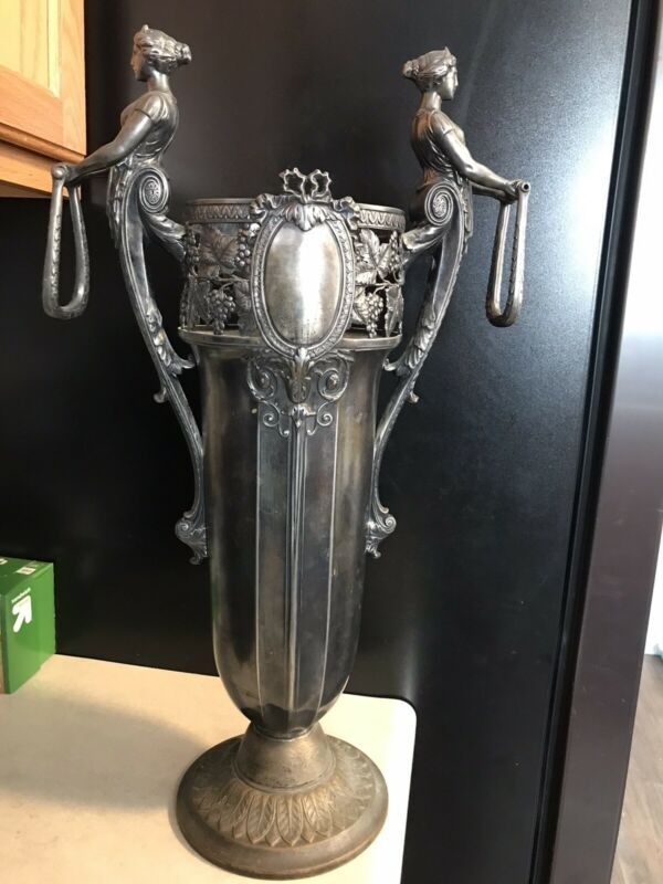 WONDERFUL WMF Handled Vase / ART NOUVEAU  SILVERPLATE w/ 2 MAIDEN Handles