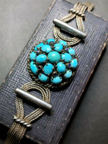 ANTIQUE VICTORIAN Natural PERSIAN TURQUOISE & SAPPHIRES Sterling Signed Bracelet