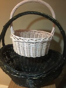 Medium round (pink) and Large oval (black) wicker baskets
