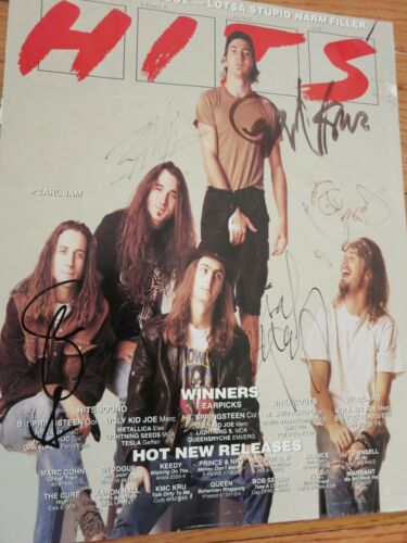 Pearl Jam Signed Magazine Cover By All 5 Coa + Proof! Eddie Vedder Autographed