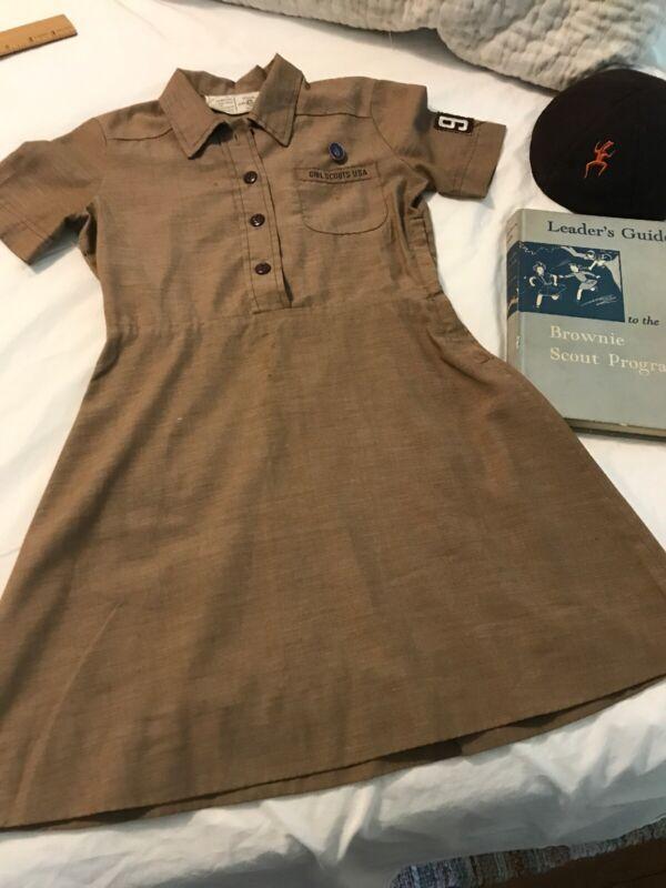 Vintage 1960s Brownie Girl Scout Uniform-Dress/Beanie/Book