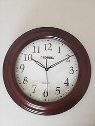 Lorell 13-1/4 Mahogany Woodgrain Quartz Wall Clock Sweeping Second Hand Working
