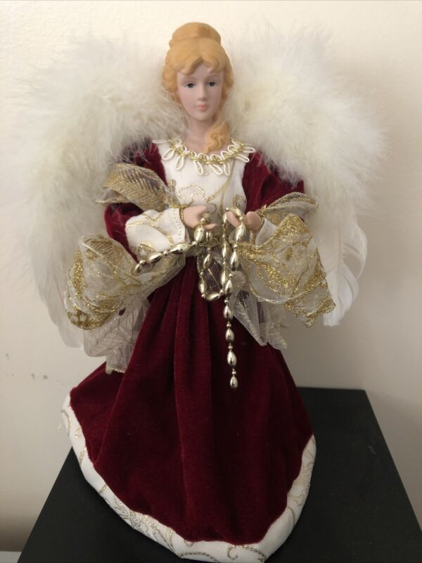 Angel Tree Topper Christmas Red White Feather Table Top Decoration Vintage