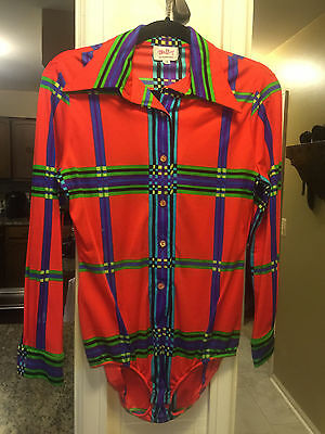 Vintage Clothing by Mr. Dino Stretchy Bodysuit Size 10 - Groovy Neon Print