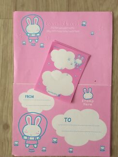 Pink and blue bunny stationary set