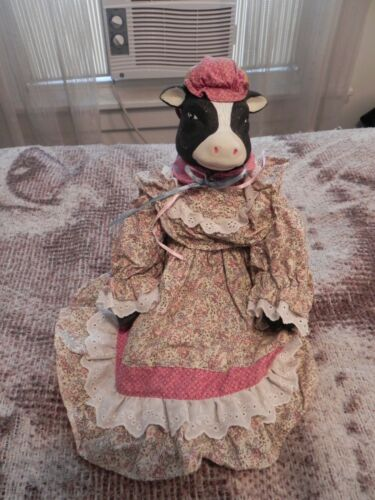 Decorative Ceramic Farm Cow Doll with Dress, Leggings and Hat