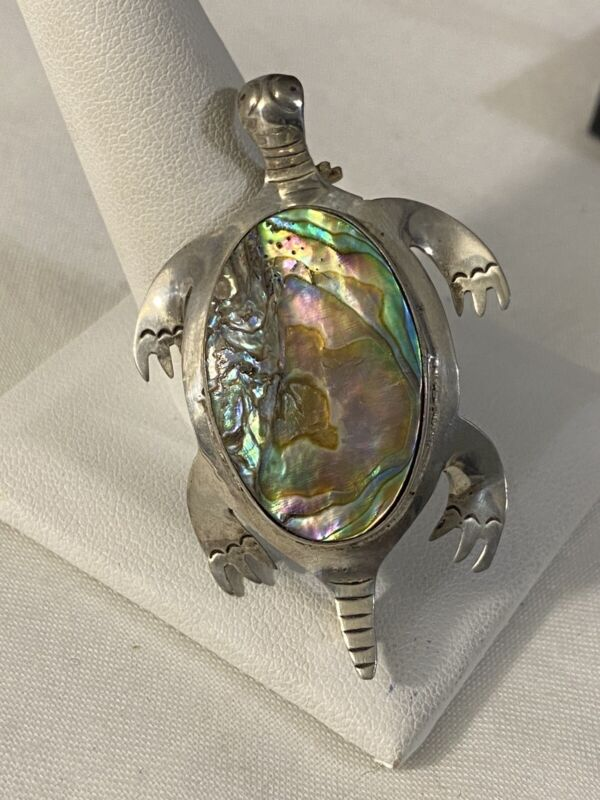 Vintage Sterling Abalone Sea turtle Brooch/pin