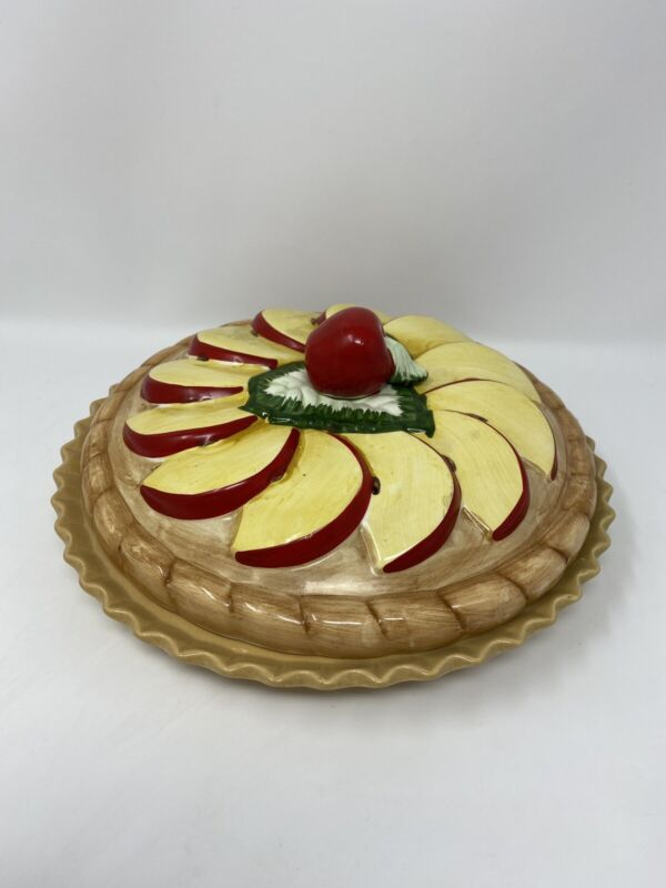 Ceramic Covered Apple Pie Keeper Plate/Dish With Lid