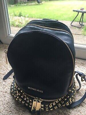 Michael Kors 30S5GEZB1L Rhea Zip Leather Backpack, Medium - Blue