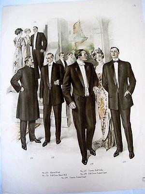Fashionable 1900's Print of Men's Tuxedo and Women's Dresses *