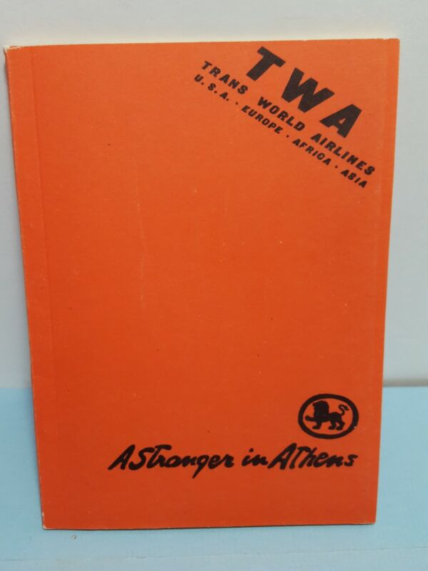 Vintage TWA Trans World Airlines ATHENS Tourist Lions Travel Guide