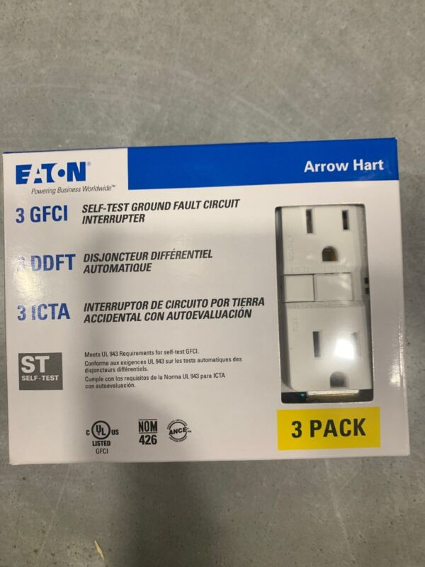 Eaton 3-pack 15 Amp 125 Volt White Indoor GFCI Decorator Wall Outlet