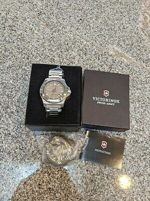 NEW Victorinox Swiss Army I.N.O.X. Grey Dial Stainless Steel Men's Watch 241739