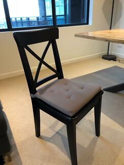 6 x Black Wooden Dining Chairs *Perfect Condition*- Ikea