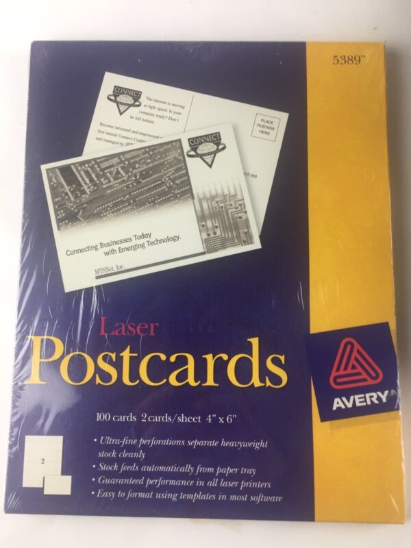 Avery Printable Cards Laser Printers 100 Cards 4 x 6 U.S. Post Card Size 5389