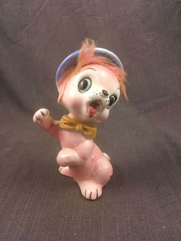 Vintage Pink Ceramic Dog Figurine with Fur