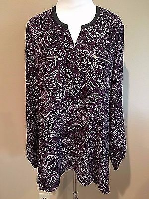NWT Women's Purple Print Long Sleeve Rafaella Tunic Dress Top Medium