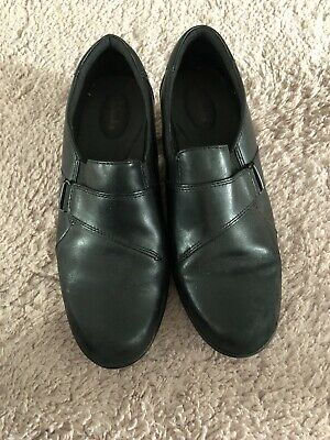 Clarks Ladies Shoes 7.5D Black Leather Vgc