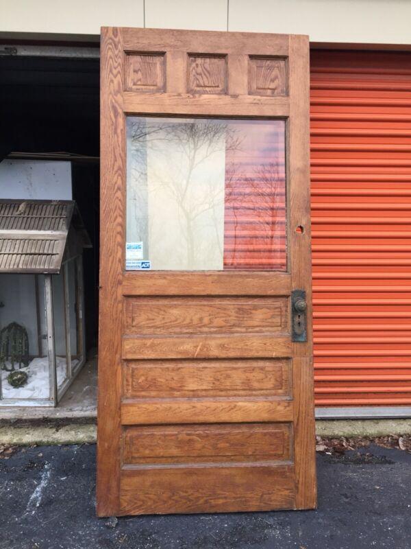 1800's ANTIQUE wood ENTRY DOOR Solid Oak Beveled Glass Original Hardware