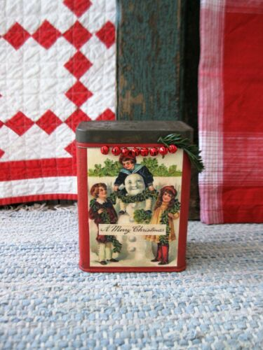 Early Antique Pantry Tin Red Milk Paint Christmas Postcard Print Snowman